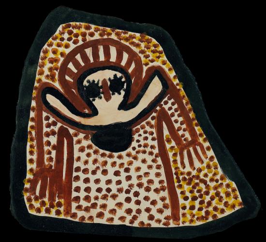 Wandgina on slate By Lily Karadada