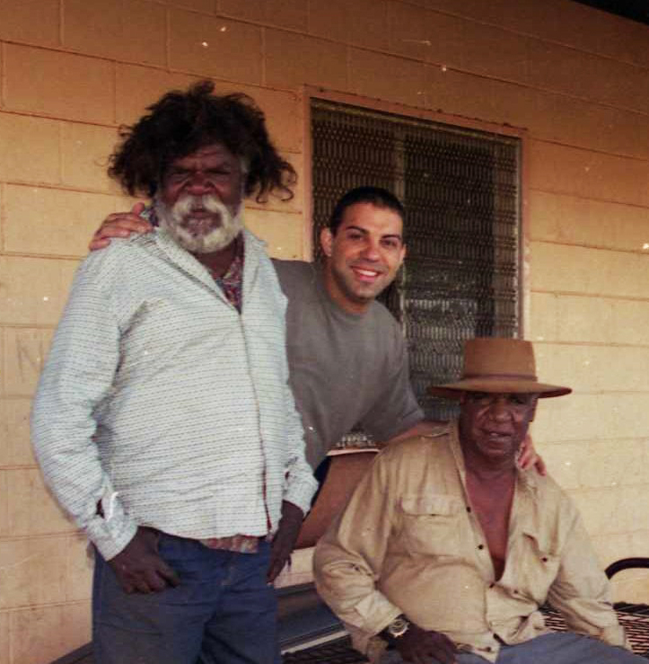 Mem with Clifford Possum Tjapaltjarri and Michael Jakamarra